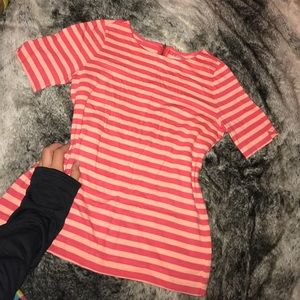 LOFT pink striped top petite